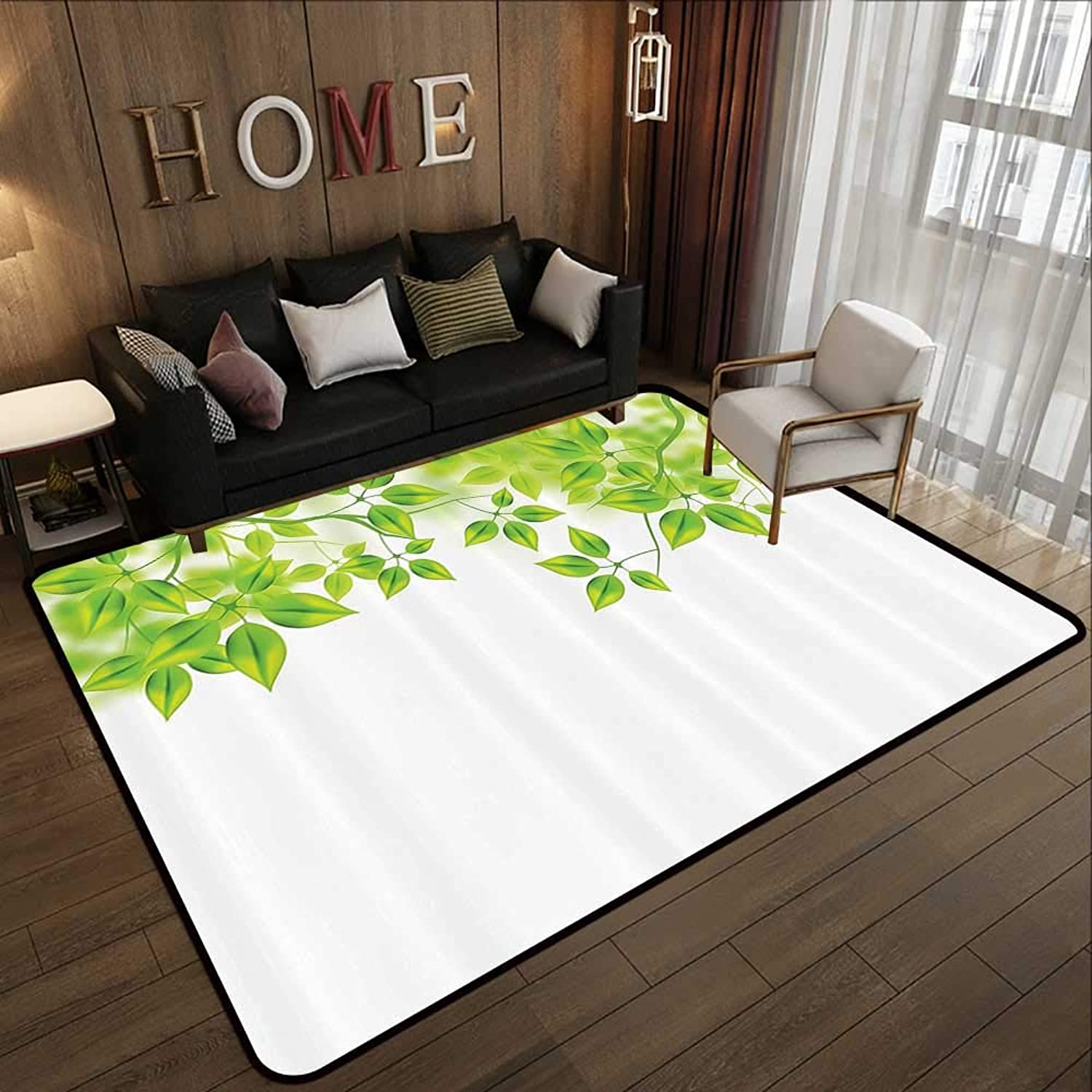 Carpet mat,Leaves Decor,Freshening Background with Vibrant Leaves in The Spring Flourishing Open Up Plant Theme,Green White 71 x 81.5  Floor Mat Entrance Doormat