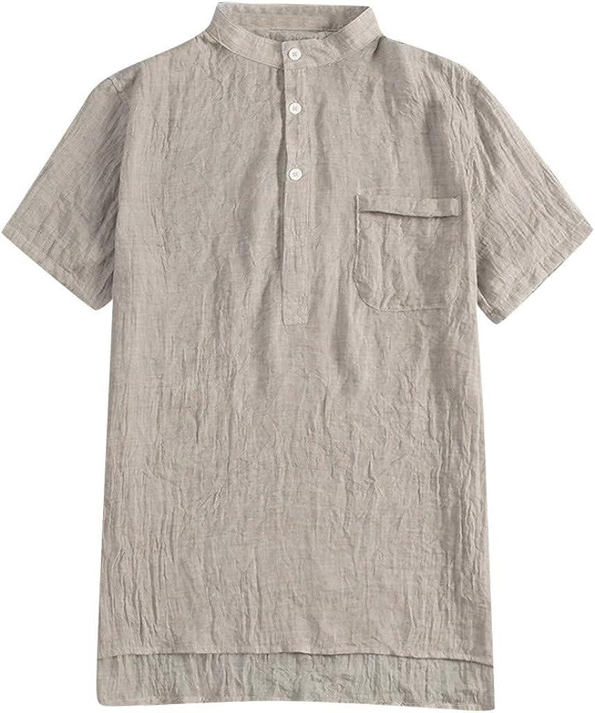 Super intense SALE Shirt Max 80% OFF for Men F_Gotal Men's Cotton T-Shirts Fashion Summe Linen