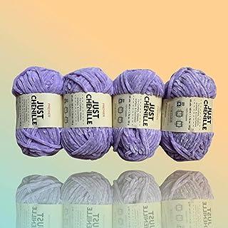 (4-Pack) JUST Skeins Sparkling Chenille Yarn Soft Yarn for Crochet Knit - Total Length 4×60m (4×65yds, 50g×4) (Lavendar)