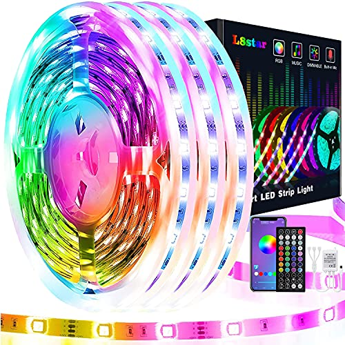 15m Striscia Led, L8star Led Striscia 5050 Strisce Luminose con Controller Bluetooth Sincronizza con la Musica Adatto per TV, Camera da letto, Decorazioni per feste e per la casa