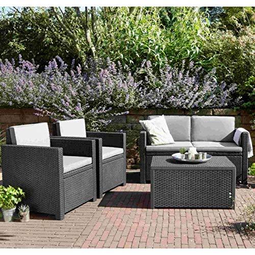 Juego de sofá de jardín de ratán, gris, salón al aire libre, sofá de 2 plazas, dos sillas y una mesa, sillones, muebles de patio