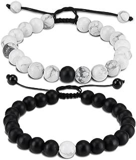 Distance Bracelet Black Matte Agate & White Howlite Energy Stone Beads Bracelet Set Couple Bracelet