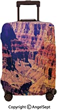 Luggage Cover Suitcase Protector,Grand Canyon in Arizona with Base Elevations North American Sublime Tribal Landscape Brown,23.6x31.9inches,Stretchy Dustproof Travel Protector Cover