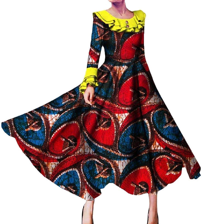 Joyccu Women's Party Plus Size African Dashiki Batik Long Sleeve Long Dress (color   Six, Size   Medium)