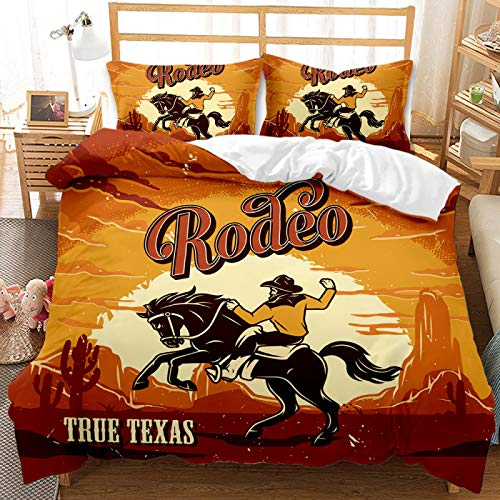 QXbecky Western Cowboy Gunner Sanded Bedding Soft Microfiber Quilt Cover Pillowcase 2, 3 Piece Set of Twin beds