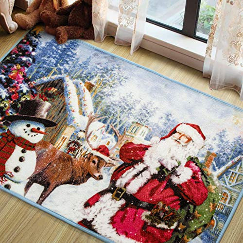 LOCHAS Premium Christmas Rugs Santa Claus Area Rug, Durable Christmas Doormat Snowman Welcome Carpets for Bedroom Living Room Indoor Outdoor Home Xmas Holiday Decor, 3x5 Feet