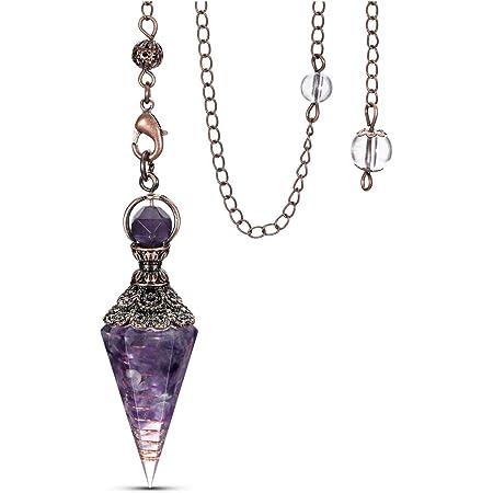Dowsing pendulum Divination witchcraft L149 wicca Natural gemstone Pendulum amethyst rose quartz lapis lazuli Crystal Pendulum
