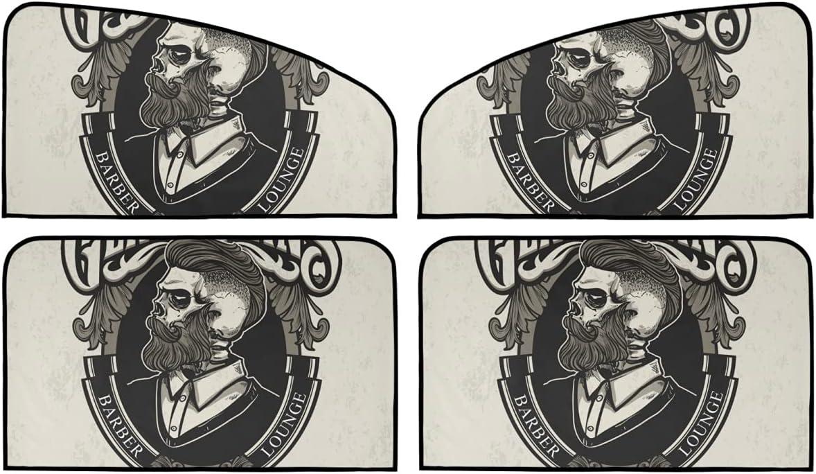 4 Piece Set Magnetic Car Window Cheap mail order shopping Sun shop Blocker Vintage - Skull Summ