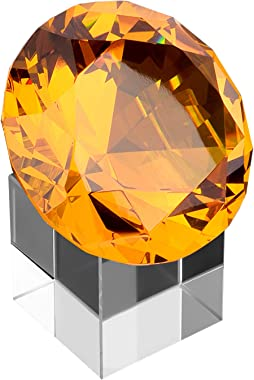 MerryNine Top K9 Clear Crystal Diamond Paperweight decoration for Wedding, Store, Home, Office, Bar, ect; Best gift for lover, family and friends ect. (Brown, 80mm)
