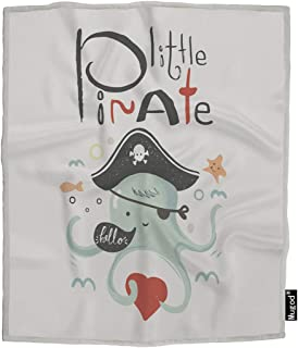 Mugod Little Pirate Throw Blanket Cute Baby Octopus in Pirate Suit Cartoon Sea Creatures Soft Cozy Fuzzy Warm Flannel Blankets Decorative for Baby Toddler Swaddle Pet Dog Cat 30x40 Inch