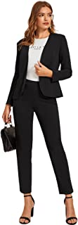 SheIn Women's 2 Piece Outfits Open Front Solid Blazer Work Office Pants Suit Set