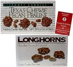 Gourmet Caramel Chocolate Pecan Candy   Texas Souvenir Gift Box: (1) Texas Chewy Pecan Pralines (1) Milk Chocolate Covered Longhorns (6 ounces each) Plus Recipe Booklet Bundle
