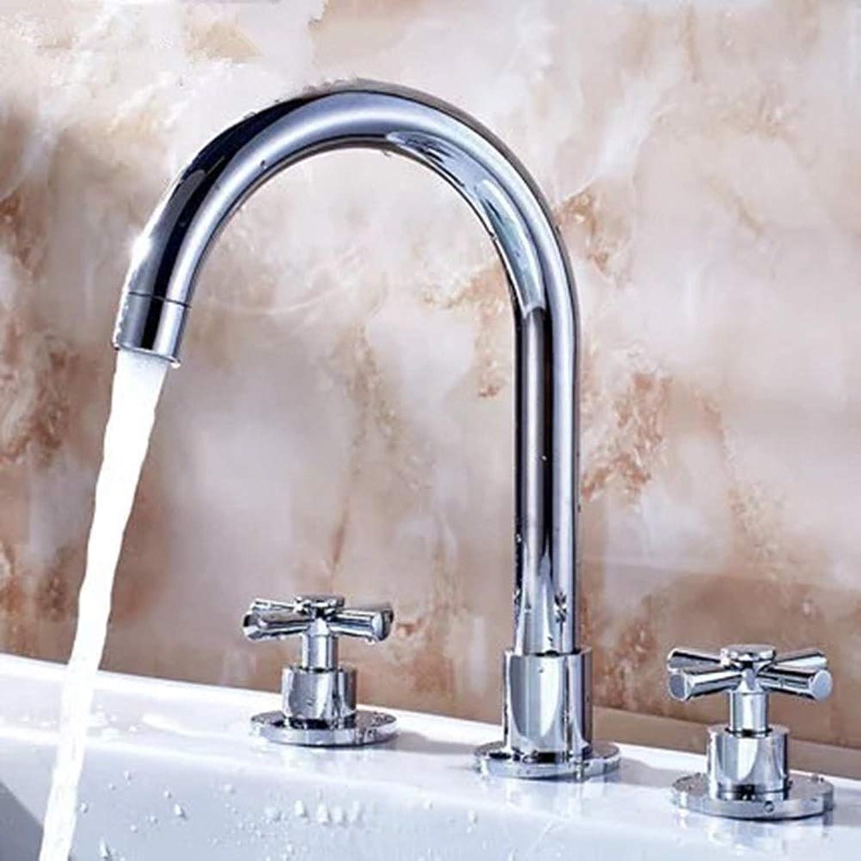 AmzGxp Europische Dreiteilige Becken Wasserhahn Badezimmer Waschbecken Doppelgriff Split Kupfer Warmes Und Kaltes Wasser DREI-Loch-Wasserhahn