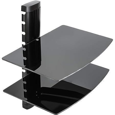 Vemount Soporte de Pared 2 x Estantes para Reproductores, receptores, BLU-Ray, Consolas, DVD,TV Accesorios en Cristal Templado Negro