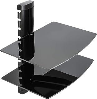 Vemount Soporte de Pared 2 x Estantes para Reproductores receptores BLU-Ray Consolas DVDTV Accesorios en Cristal Temp...