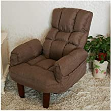 LJBH Creative Lazy Sofa Single Fabric Leisure Tatami Lunch Break Chair Elderly Chair [20cm Wooden Feet] comfortable, no fa...