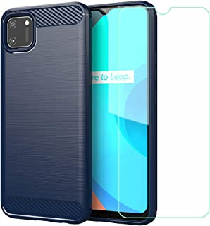 FZZ Case for Oppo Realme C11 + Screen Protector Tempered Glass Protective Film,Blue Carbon Fiber Shell Soft Silicone TPU P...