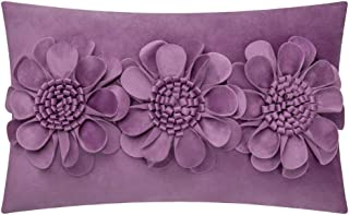 JWH 3D Rose Flowers Accent Pillow Case Velvet Cushion Cover Home Sofa Bed Living Room Office Chair Car Travel Decor Pillowslip Gift 12 x 20 Inch Purple
