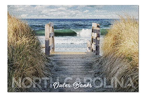 Outer Banks, North Carolina - Stairs to Beach (20x30 Premium 1000 Piece Jigsaw Puzzle, Made in USA!)
