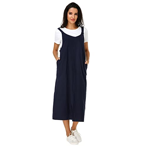 77a59bb6228a Kidsform Womens Pinafore Dress Sleeveless Casual Loose Solid Split Hem  Overalls Pocket Long Maxi Dresses