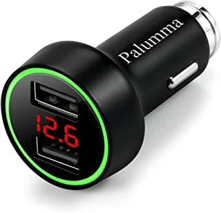 Palumma 24W/4.8A Dual USB Car Charger, 12V to USB Outlet with Cigarette Lighter Voltage Meter LED/LCD Display Battery Low Voltage Warning (Black)