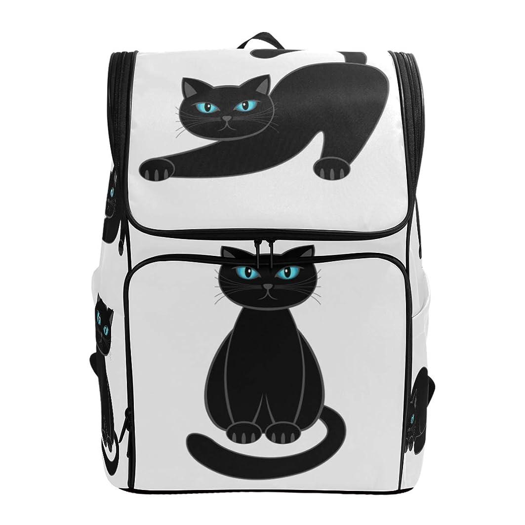 変位是正透けるマキク(MAKIKU) リュック 大容量 リュックサック 軽量 メンズ 登山 通学 通勤 旅行 プレゼント対応 かわいい 黒猫 猫柄 ホワイト