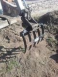 Joma-Tech MS01 - Rastrillo para excavadora de 5 dientes, rastrillo para raíces y excavadora