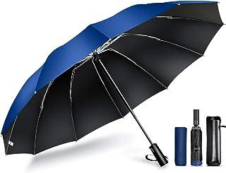 【12本骨 & 逆折り式】 折りたたみ傘 ワンタッチ 自動開閉 メンズ傘 大きい 耐風 撥水 晴雨兼用 男子日傘 UVカット 紫外線遮蔽 折り畳み傘 メンズ レディース 梅雨対策 台風対応 収納ポーチ付き DeliToo