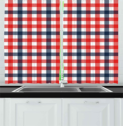 """Ambesonne Vintage Kitchen Curtains, Checkered Gingham Plaid Pattern Traditional Scottish Tartan Classic Retro, Window Drapes 2 Panel Set for Kitchen Cafe Decor, 55"""" X 39"""", Blue Navy"""