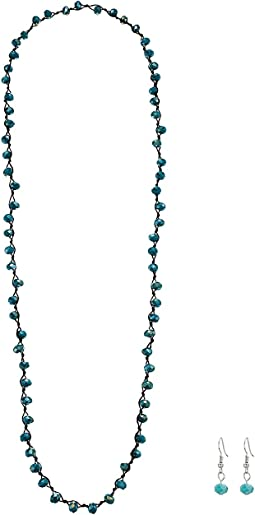 Turquoise Bead Necklace/Earrings Set