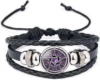 Black Occult The Inverted Star Sign Pentagram Satanic Pentagram Star Symbols Glass Beaded Telescopic Bracelets Men Women Jewelry