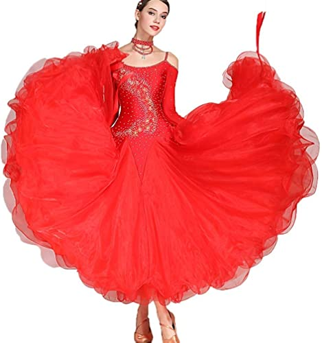 CX Danse De Salon Robe Valse Professionnel National Standard Costume Féminin Moderne Strass Jupe De Danse