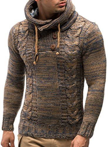 Leif Nelson LN20227 Men's Knitted Pullover,Brown,US-L / EU-XL