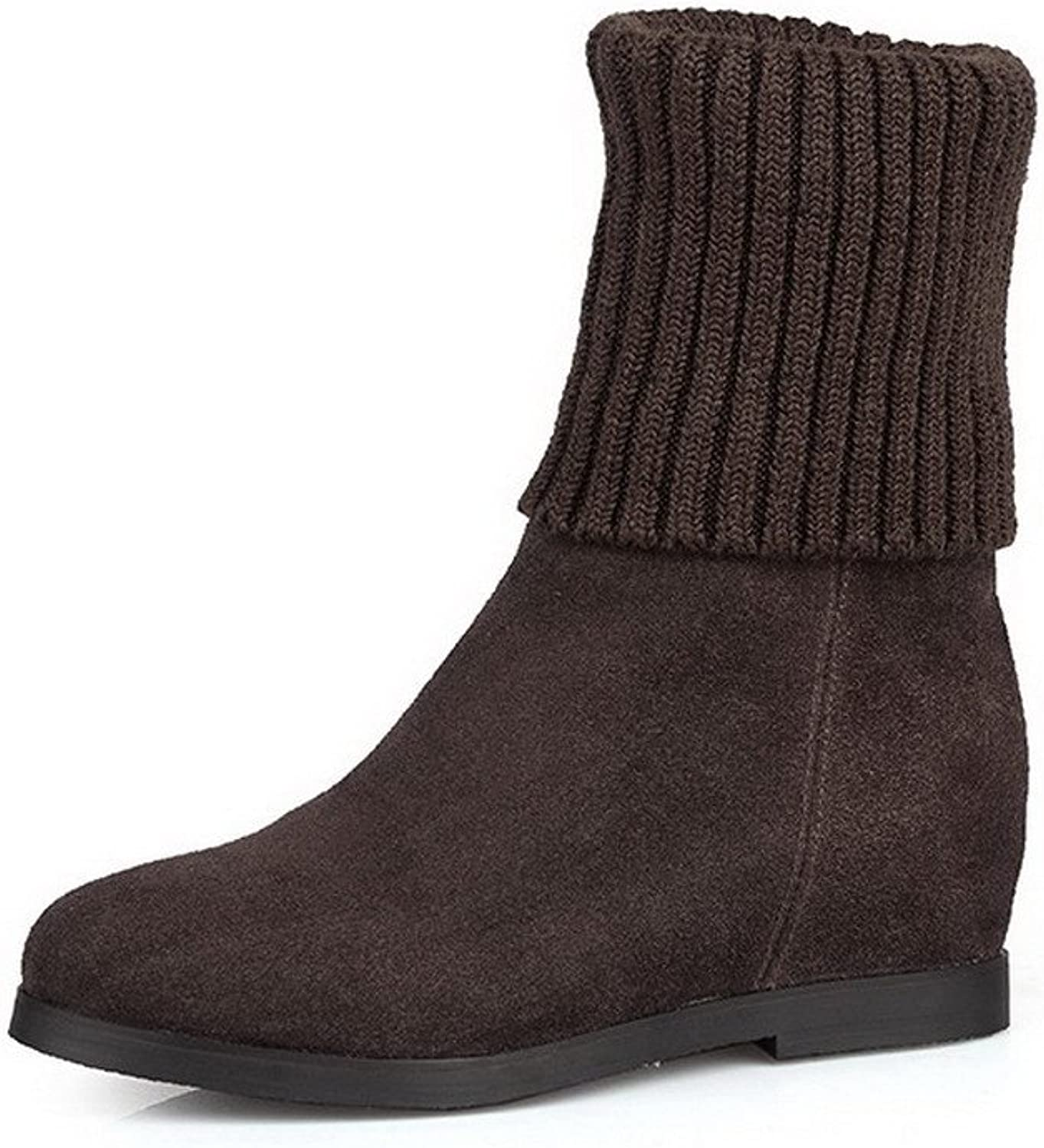 AllhqFashion Women's Cow Leather Frosted No-Heel Boots