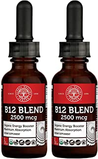 Global Healing Center VeganSafe B12, 2500 mcg Organic Sublingual Liquid Drops | 2-in-1 Methylcobalamin & Adenosylcobalamin...