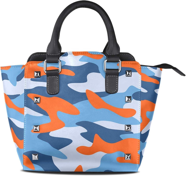 My Little Nest Women's Top Handle Satchel Handbag colorful Camouflage Pattern Ladies PU Leather Shoulder Bag Crossbody Bag