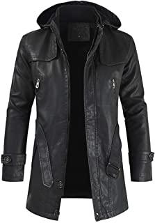 Men's Winter Coat Casual Leather Jacket Hooded Zipper Long Sleeve Tops Beautyfine