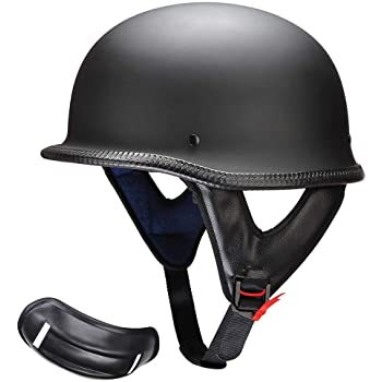 XL Half Helmet Black Dot Adult German Style added leather protection with goggles