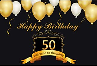 YongFoto 8x6.5ft Happy Birthday Backdrop 50th Birthday Party Photography Background Gold Balloons Black Wall Party Decor Adult Old Man Portrait Studio Props Booth Banner Wallpaper