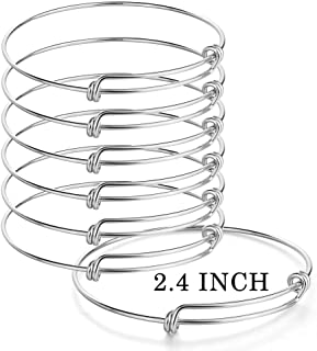 Sromay 8 Pieces Wire Blank Bracelet Stainless Steel Expandable Charm Bangle Bracelet for DIY Jewelry Making, 2.4 Inch