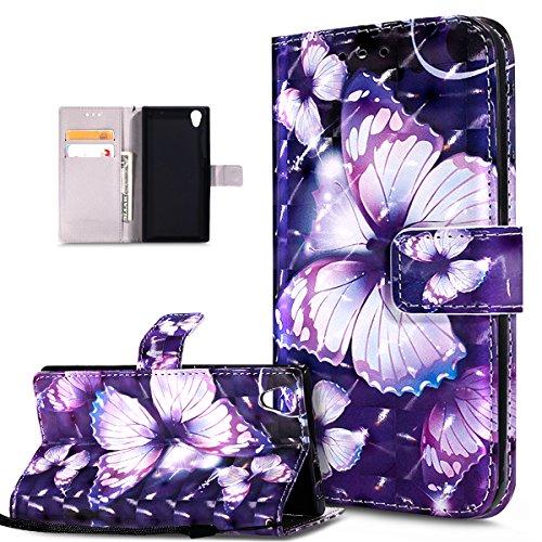 Kompatibel mit Schutzhülle Sony Xperia L1 Hülle Handyhülle,3D Bunte Gemalte Schmetterlings Muster PU Lederhülle Flip Ständer Wallet Handy Hülle Tasche Handy Tasche Schutzhülle,Lila Schmetterling