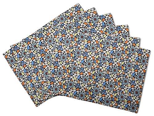 S4Sassy Negro Piedra Colorida Mosaico Mesa Reversible decoración placemat Estera de Comedor reversible-16 x 18 Pulgadas-6 pcs