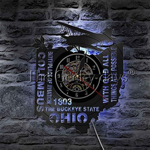 Jiushixw Maan- en uilenvinylooptekening-wandklok met LED-verlichting, slaapkamernachtlampje, vliegenvogel-designlamp