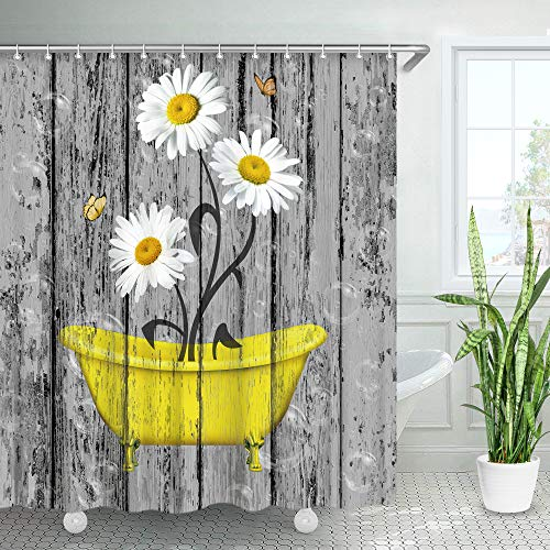 Stacy Fay Rustic Shower Curtain, Daisy Floral in Yellow Bathtub Grey Barnwood Fabric Bathroom Curtain with Hooks Old Wooden Board Country Farmhouse Style Home Decoration 72x72 Inches Machine Washable