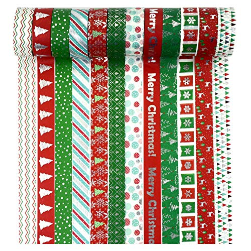 """12 Rolls Christmas Washi Tape 0.6"""" x 16.4ft Silver Foil Merry Christmas Masking Tape Great for DIY Journal, Calendar, Gift Wrapping"""