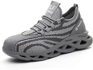 WggWy Zapatos de protección transpirables de verano, con aislamiento de seguridad, zapatos de protección para hombre, lige...