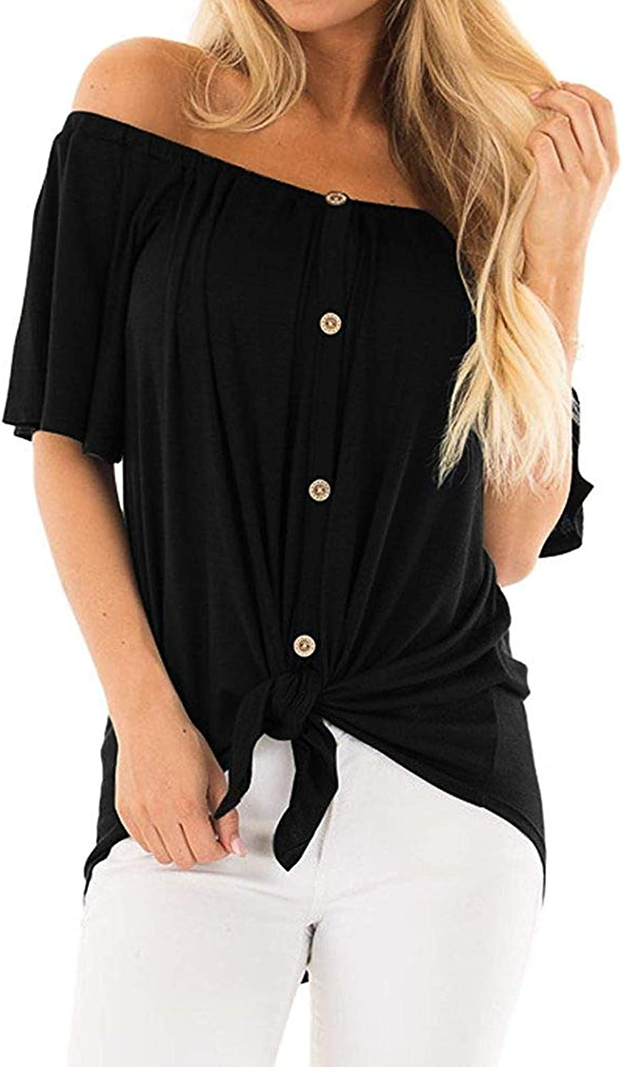 RULISHE Womens Off The Shoulder Top Short Sleeve Button Down Tie Front Knot Shirt Tunic Blouse