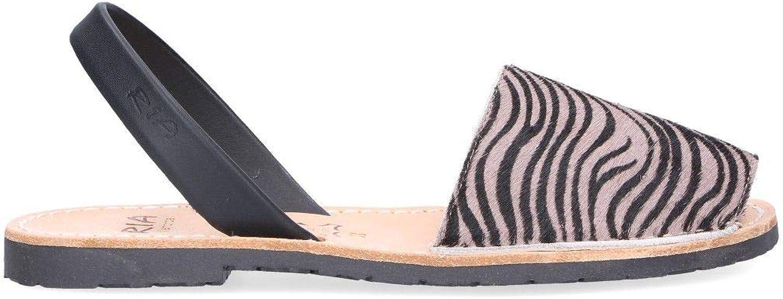 RIA MENORCA Women's 20002G Grey Leather Sandals