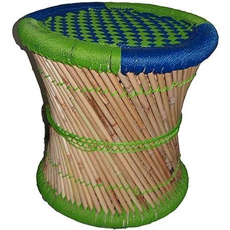 KSM Eco Friendly Handicraft Cane Bar Bamboo Chair/Stool Muddha/Mudda for Outdoor/Indoor/Furnishing -1 Piece (14 inch Height)