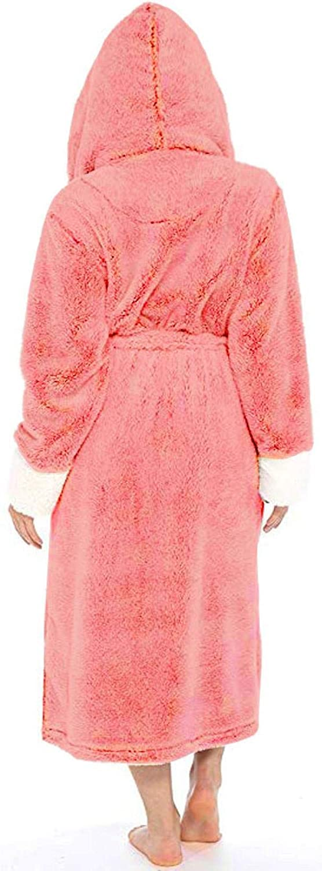 Dshuai Bademantel Damen Luxus Fleece Kimono Kleider Robe Ribbon Wrapped Kapuzen Bademantel Sleepwear Mantel Loungewear Rosa
